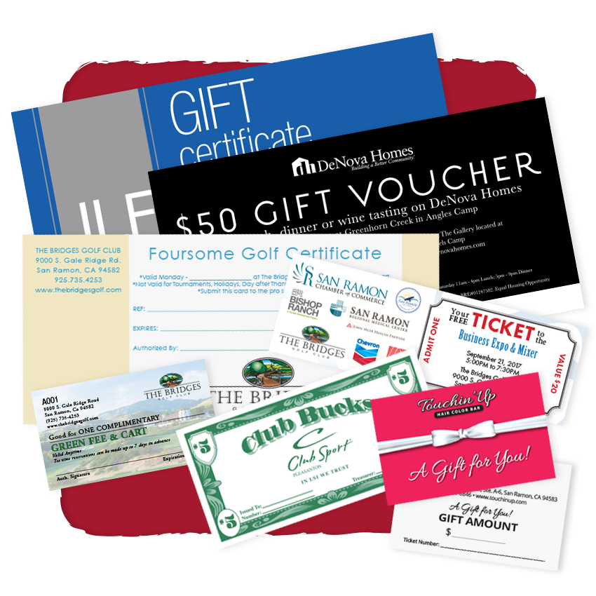 gift cards, coupons & tickets